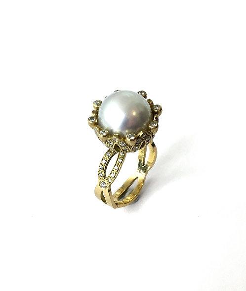 Südseezuchtperl-Diamantring