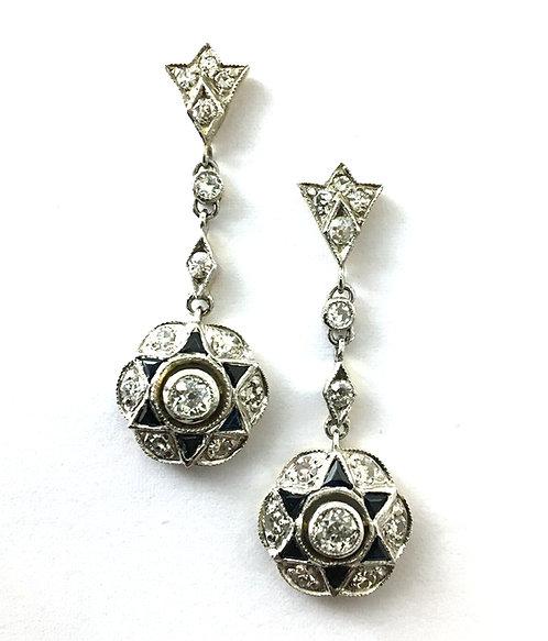 1 Paar Diamant-Safir-Ohrhänger