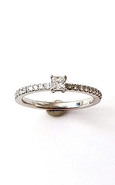 Princess-Brillant-Ring in Weißgold