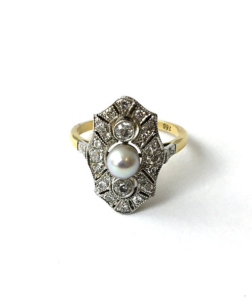 Diamant-Zuchtperlring im Stil des Art Déco