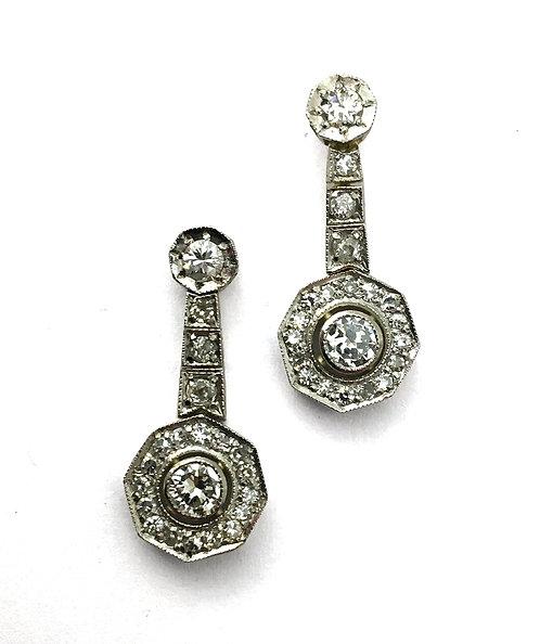 1 Paar Diamant-Ohrhänger im Stil des Art Déco
