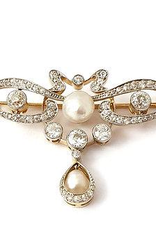 Diamant-Perlen-Brosche