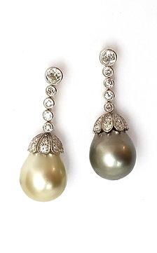 1 Paar Diamant-Ohrhänger mit Südsee-und Tahitizuchtperle