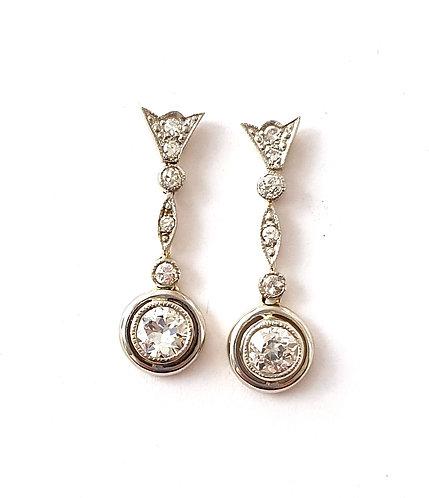 1 Paar elegante Diamant-Ohrhänger im Stil des Art Déco