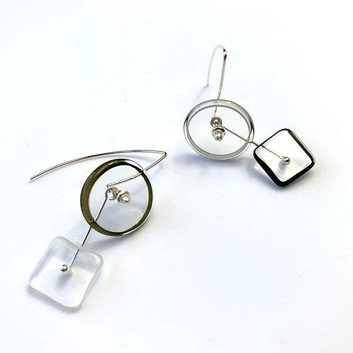 """""""0+SQ"""" Halo 2Part Earrings: B&W"""