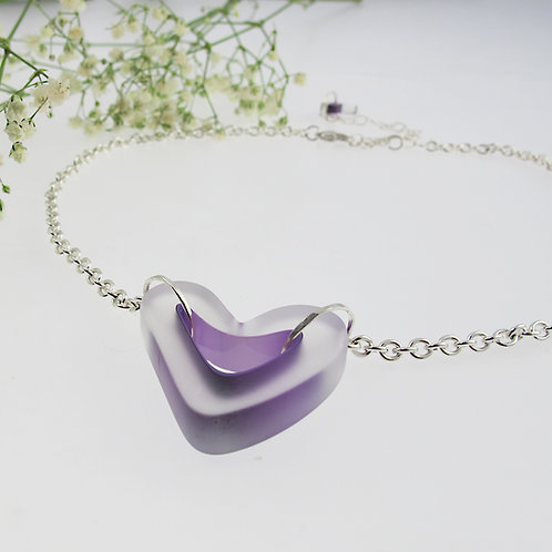 """Lavender Smile Heart"" Necklace"