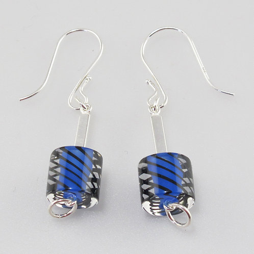 Cafe Earrings (Opaque Lapis with Black Stripes)