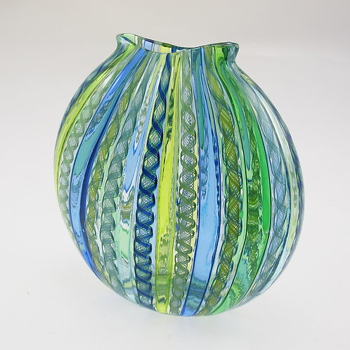 """FlatRound"",  (Blu/Grn) ,  8""tall x 8""wide"
