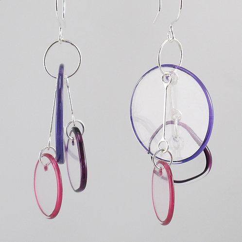 Halo Earrings 3 Part (Warm Colors)Cobalt/Purple