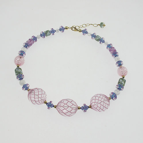 Pink Baubles with 14k Vermeil Necklace