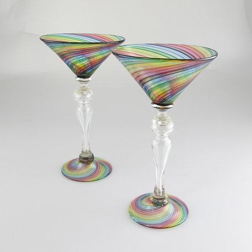 """""""Rainbow Martini"""", 8.5""""tall x 4.5""""wide"""