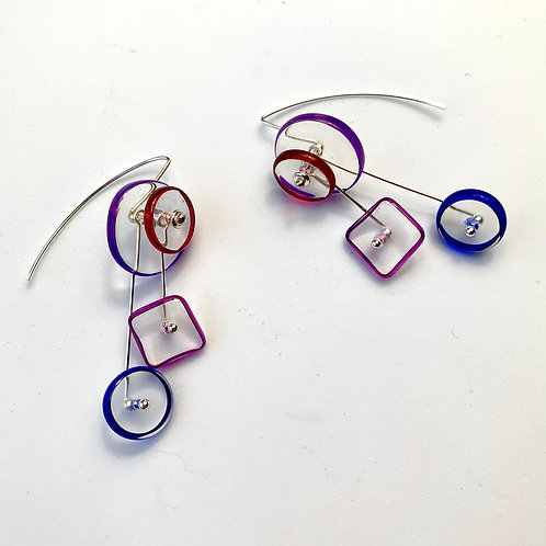 """Kinetic"" Halo 4Part earrings:Cobalt Purp"