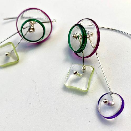 """""""Kinetic"""" Halo 4Part earrings:PurpleGreen"""