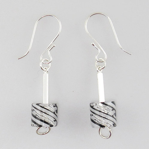Cafe Earrings (White with B&W Stripes)