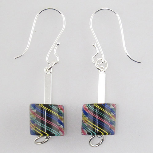 Cafe Earrings  (Black with Multi Stripes)