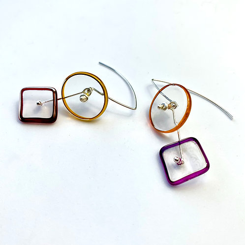 """0+SQ"" Halo 2Part Earrings, Warm"