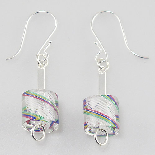 Cafe Earrings (White with Multi Stripes)