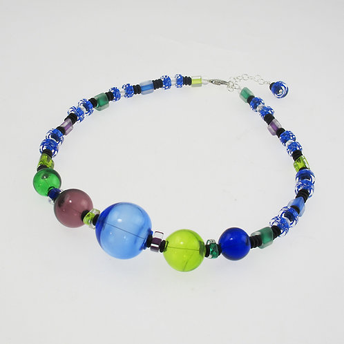 Bauble Necklace, Mix of Greens, Blues, & Amethyst