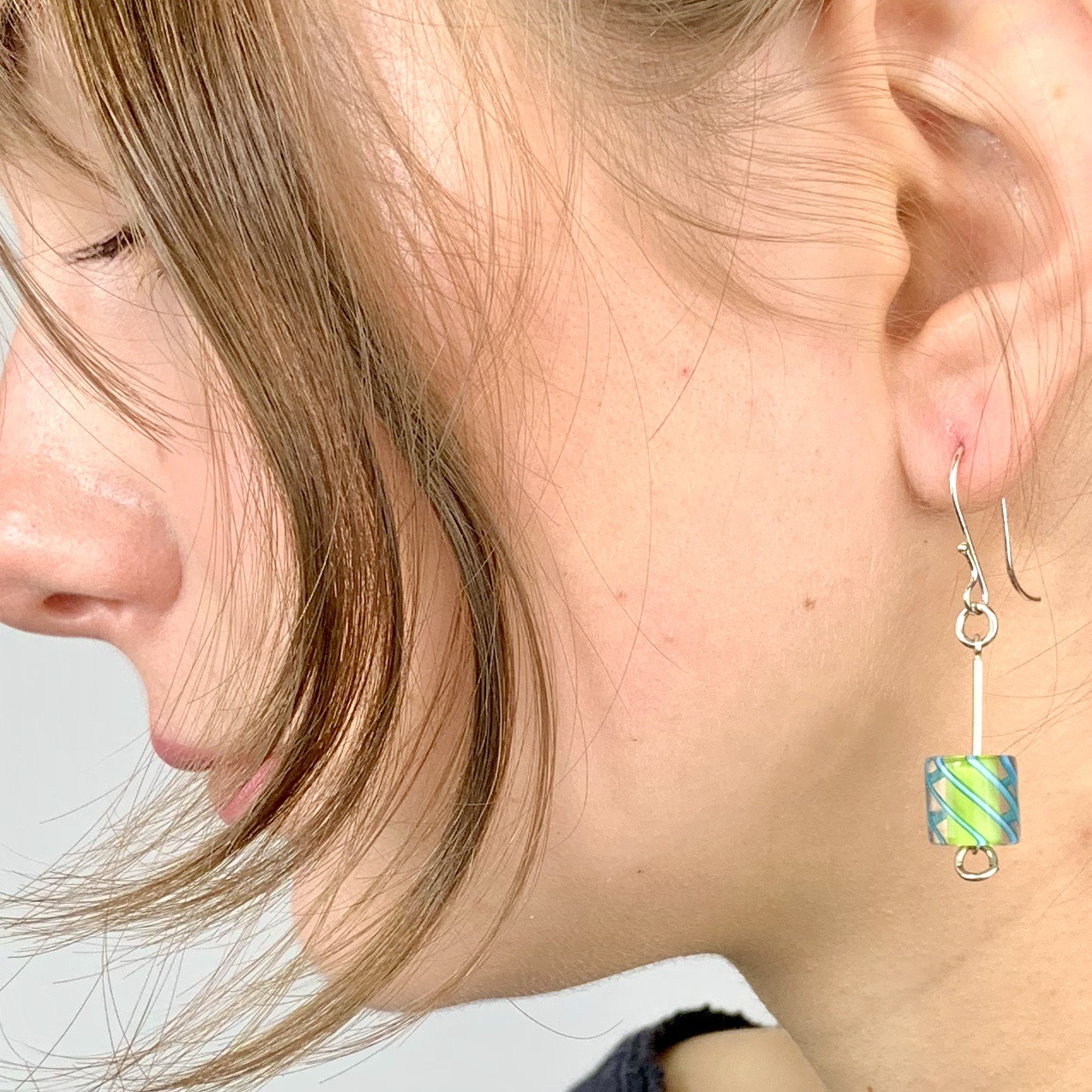 Cafe Earrings (Opaque Lime with Turquoise Stripes)