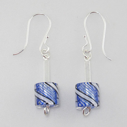 Cafe Earrings (Cobalt Stripes with B&W Stripes)