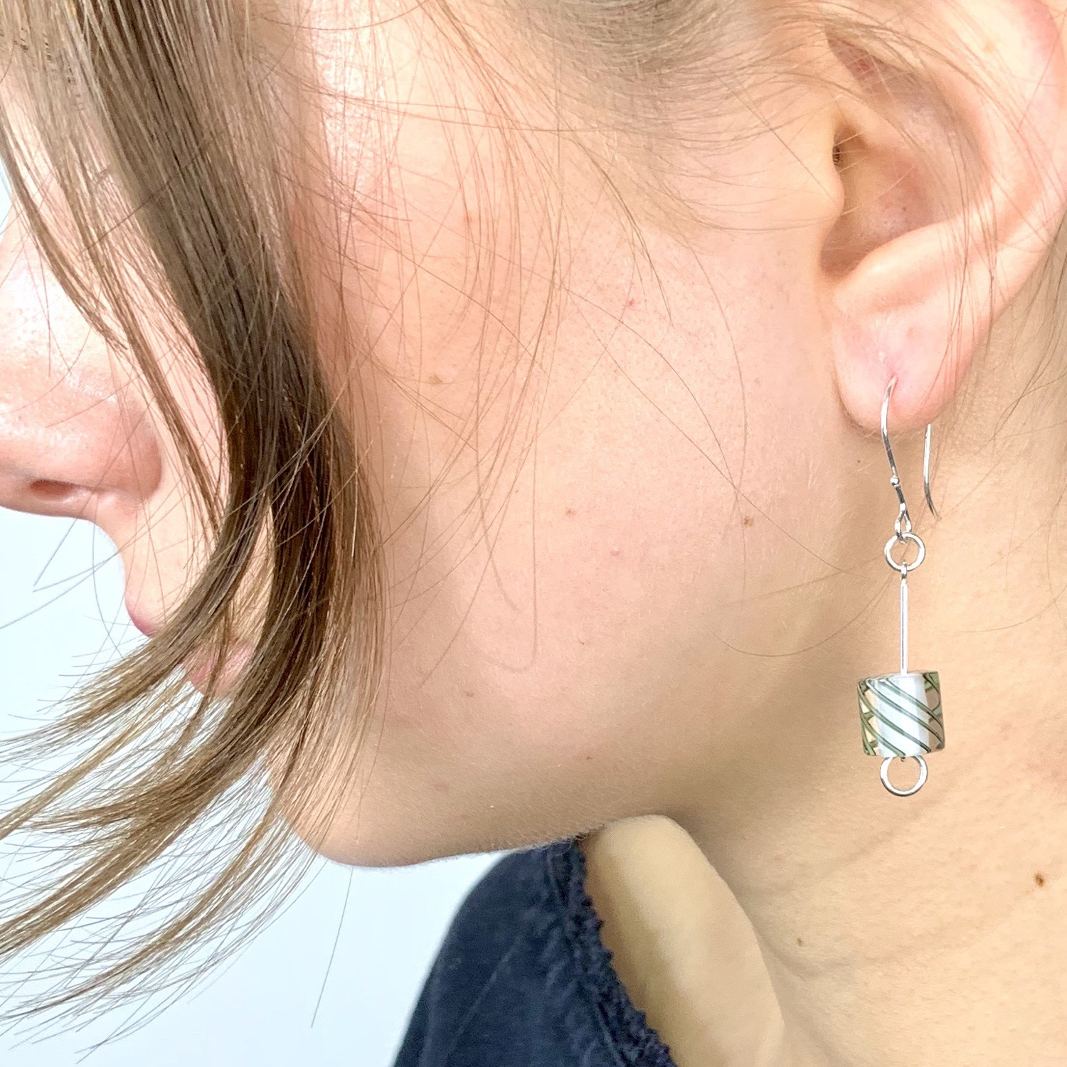 Thumbnail: Cafe Earrings (Opaque Milk with Grey Stripes)