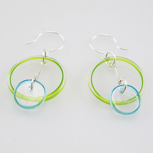 Halo Earrings 2 Part (Cool Colors)