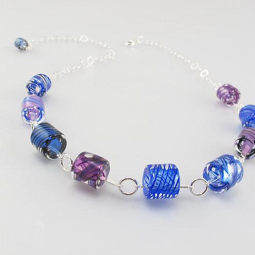 Cafe Necklace (Cobalt Purple Colors)