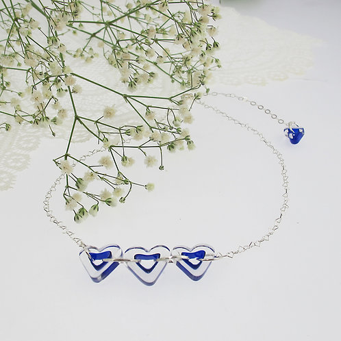 """Lapis Blue Hearts"" Necklace"
