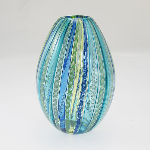 """Egg"" ,   (Blu/Grn) ,    8""tall x 6""wide"