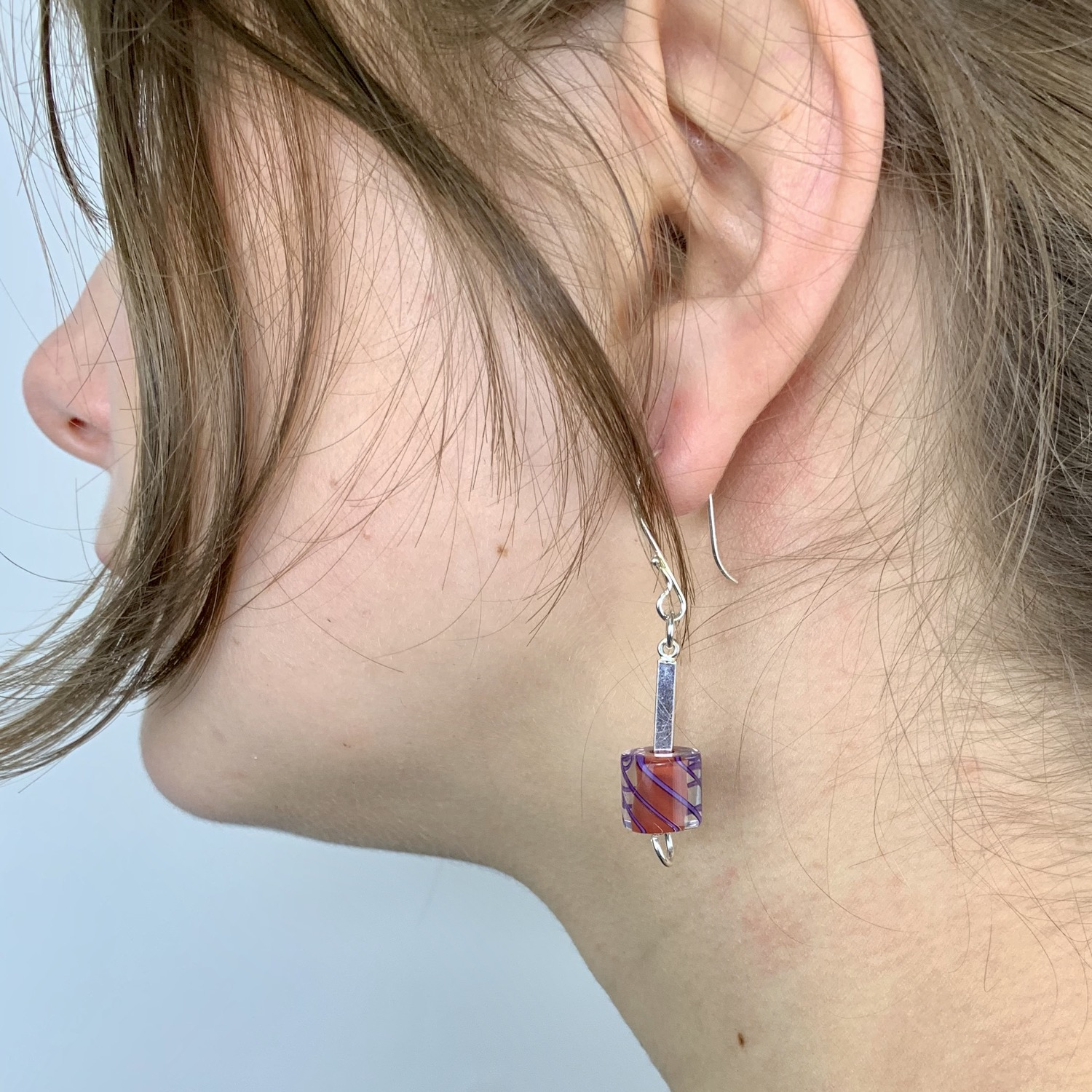 Cafe Earrings (Opaque Red with Purple Stripes)
