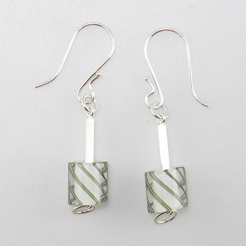 Cafe Earrings (Opaque Milk with Grey Stripes)