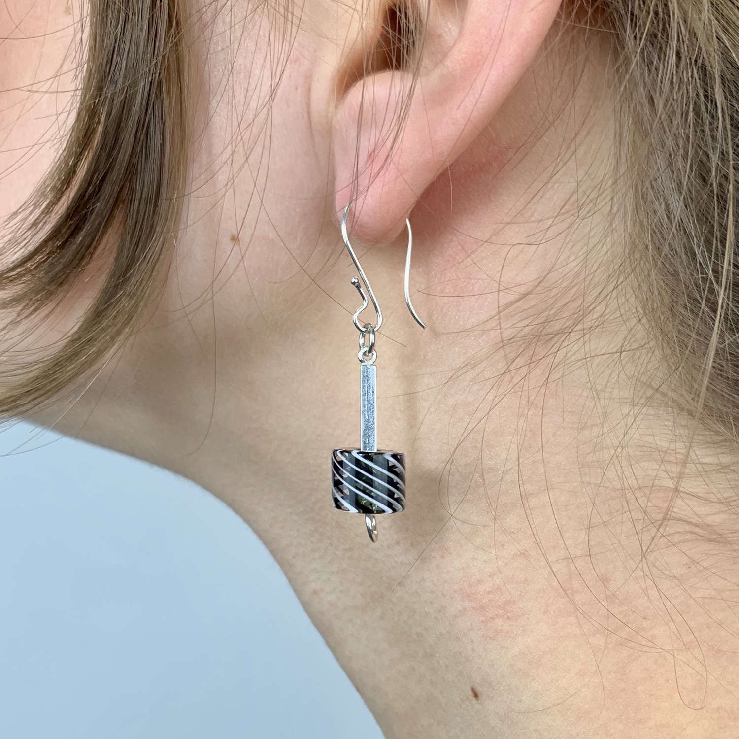 Cafe Earrings (Black with B&W Stripes)