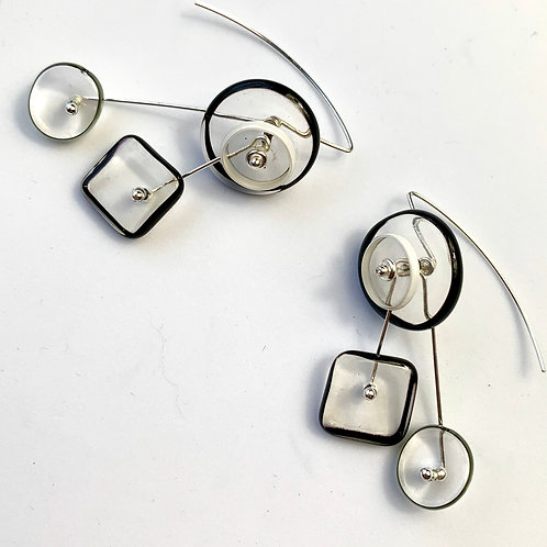 """Kinetic"" Halo 4Part earrings: B&W"