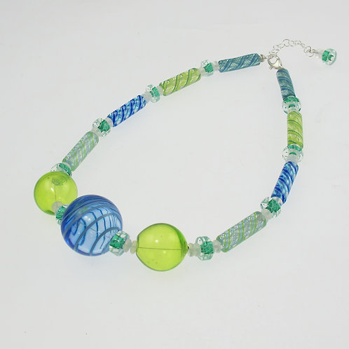 Aqua & Lime Bauble Necklace
