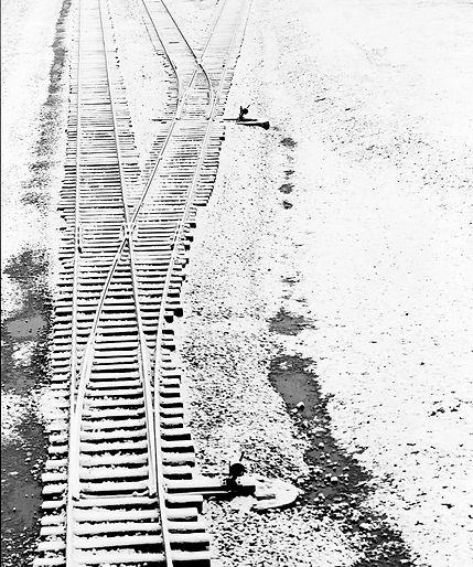 Railroad track in Birkenau with snow.