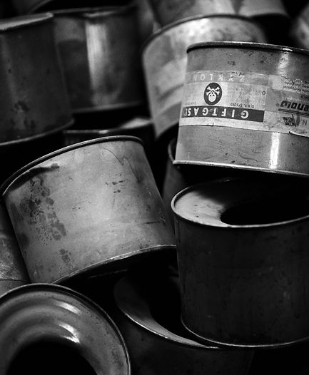 Used Zyklon B canisters, gas chamber, Auschwitz.