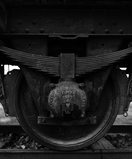 Wheel, railroad car used to transport Hungarian Jews to Birkenau.