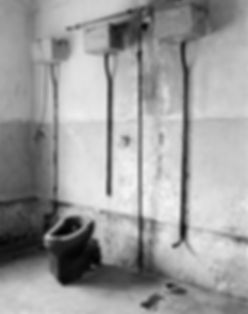 Toilet, first floor, Block 10, Auschwitz.