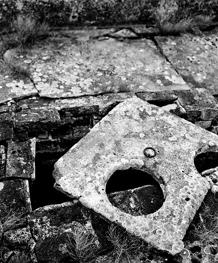 Toilet seat remant of a lavatory block, Birkenau.