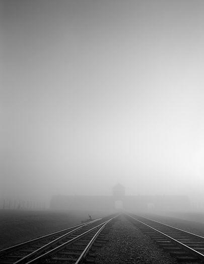 Main Guard House and railroad tracks, Birkenau.