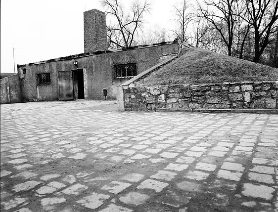 Plaza and building that housed the gas chamber and crematorium, Auscwitz.