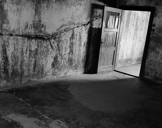 Entrance to the gas chamber, Auschwitz.