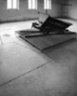 Ashes cart to transport human ashes, Sauna Building, Birkenau.
