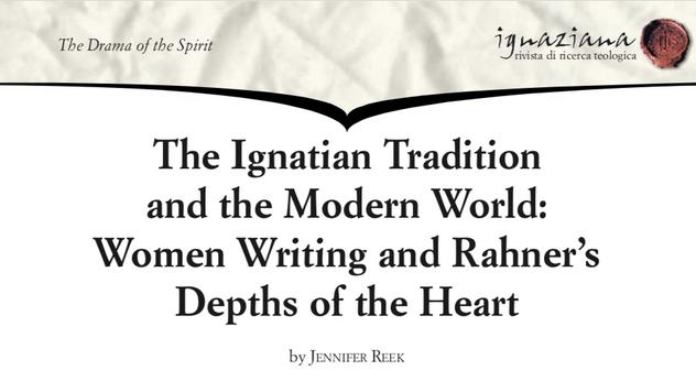 Dr Jennifer Reek - Women Writing and Rahner's 'Depths of the Heart'
