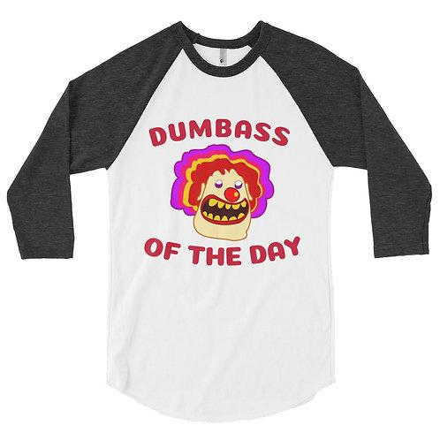 Dumbass of the Day Clown - 3/4 sleeve raglan shirt