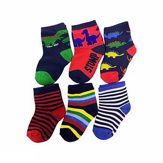 BC24 Paquete de 6 pares de calcetines  - Dinos