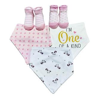B32 Set de 3 bandanas y 2 pares de calcetines, Rosa