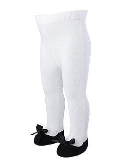 BM24 Mallas blancas con simulación de zapatito negro