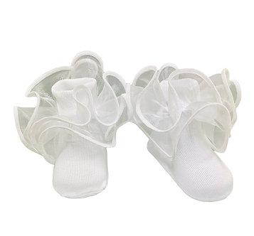 Calceta lisa color blanco con olan blanco en tobillo