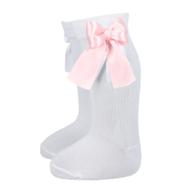 BC82 Calceta lisa blanca con moño rosa